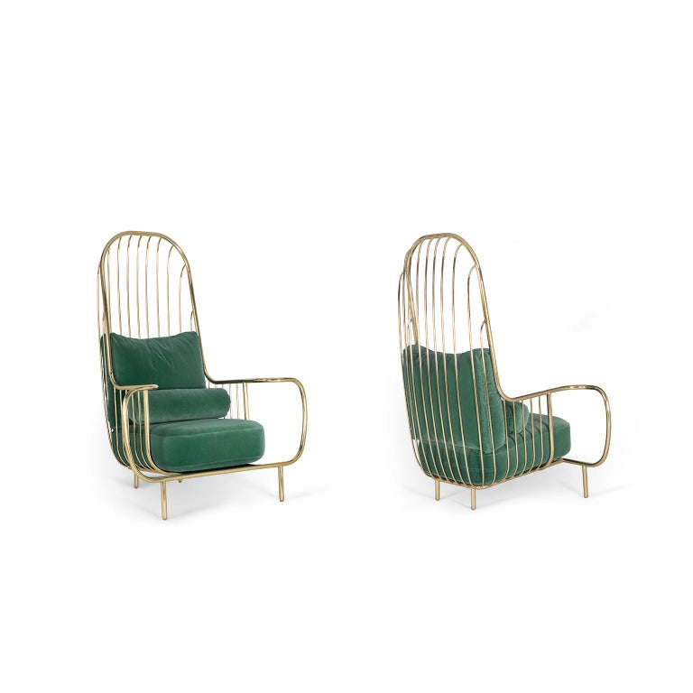 Modern Liberty Armchair High Back in Polished Brass and Green Velvet Cushions In New Condition For Sale In Oporto, PT