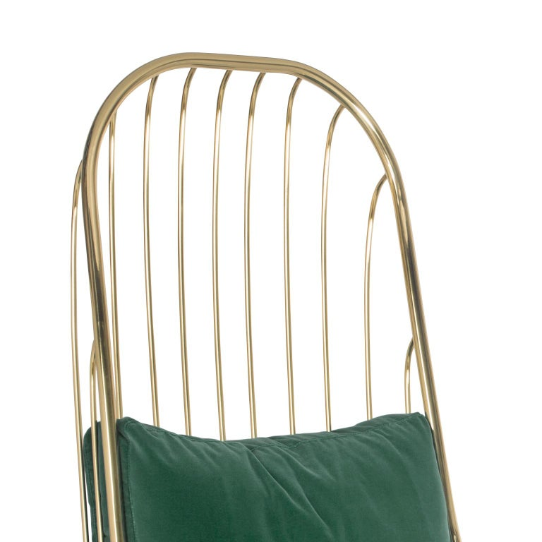 Contemporary Modern Liberty Armchair High Back in Polished Brass and Green Velvet Cushions For Sale