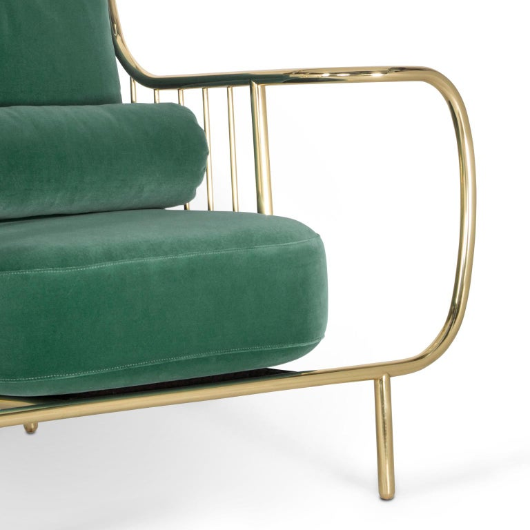 Modern Liberty Armchair High Back in Polished Brass and Green Velvet Cushions For Sale 1