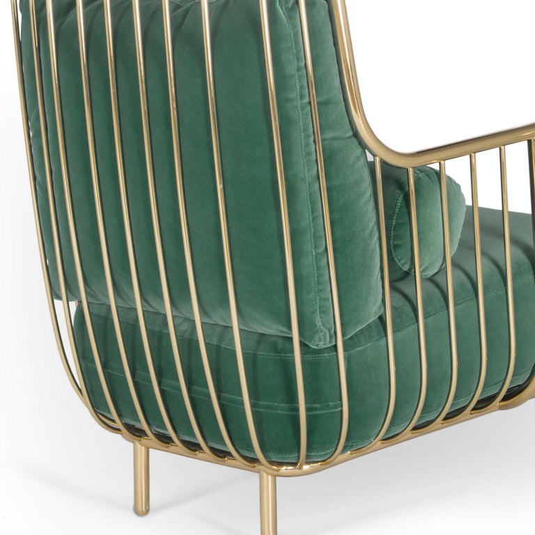 Modern Liberty Armchair High Back in Polished Brass and Green Velvet Cushions For Sale 3