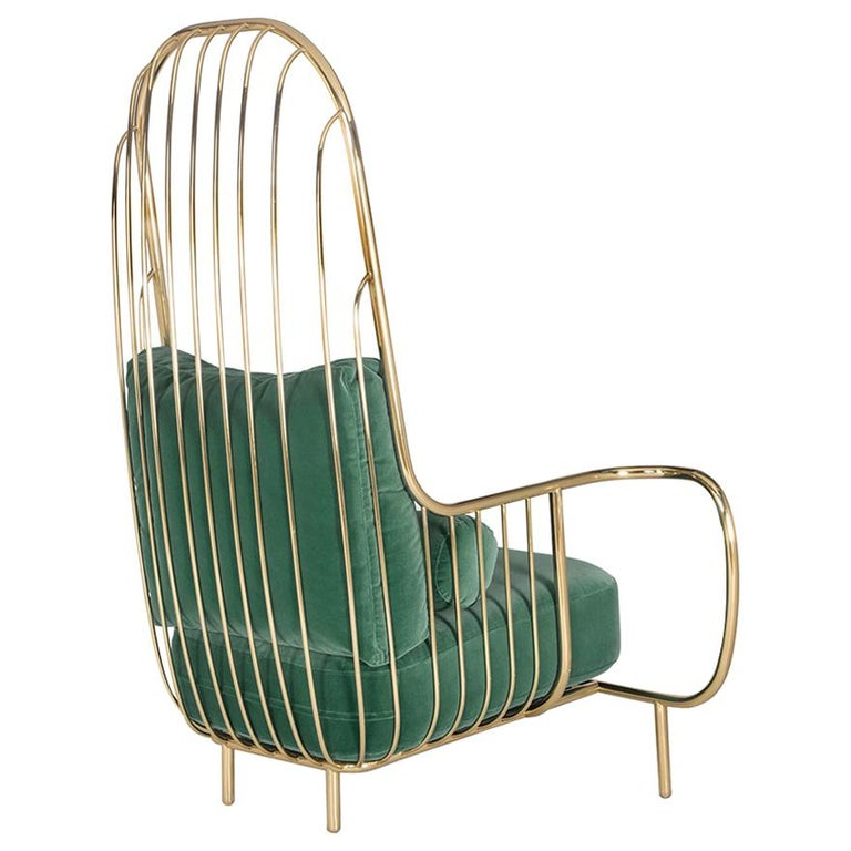 Modern Liberty Armchair High Back in Polished Brass and Green Velvet Cushions For Sale