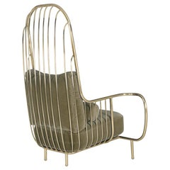 Modern Liberty Armchair High Back in Polished Brass and Olive Colour Velvet