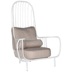 Modern Liberty Armchair High Back in White Lacquered Inox and Linen Cushions