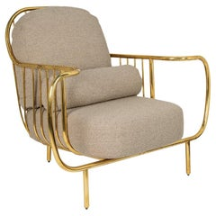 Modern Liberty Armchair Low Back Aged Polished Brass and Taupe Boucle Cushions