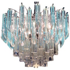 Modern Light Blu Crystal Prism Murano Glass Chandelier, 1970