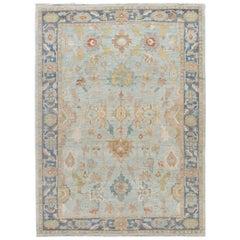 Modern Light Blue Sultanabad Handmade Floral Wool Rug