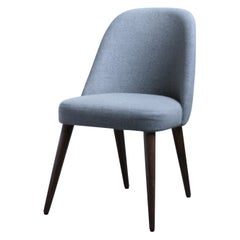 Modern Light Gray Fabric Desk Chair with Walnut Base