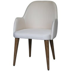 Modern Light Ivory Cream Fabric Dining Armchair with Oak Base