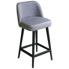 Modern Light Pearl Gray Fabric Counter Stool with Oak Base Painted Black