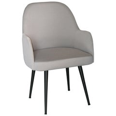 Modern Light Pearl Gray Fabric Dining Armchair with Steel Base Black