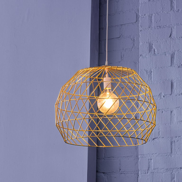 The array pendant is a large spherical light made from wire. The shape is large enough to stand out over kitchen counters or a dining table. Also great for corner lounge areas. This wire light fits standard bulbs.  Gold and copper finishes for