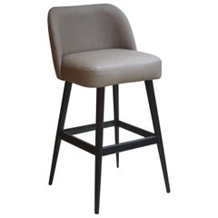 Modern Light Taupe Gray Faux Leather Counter Stool with Oak Base painted Black