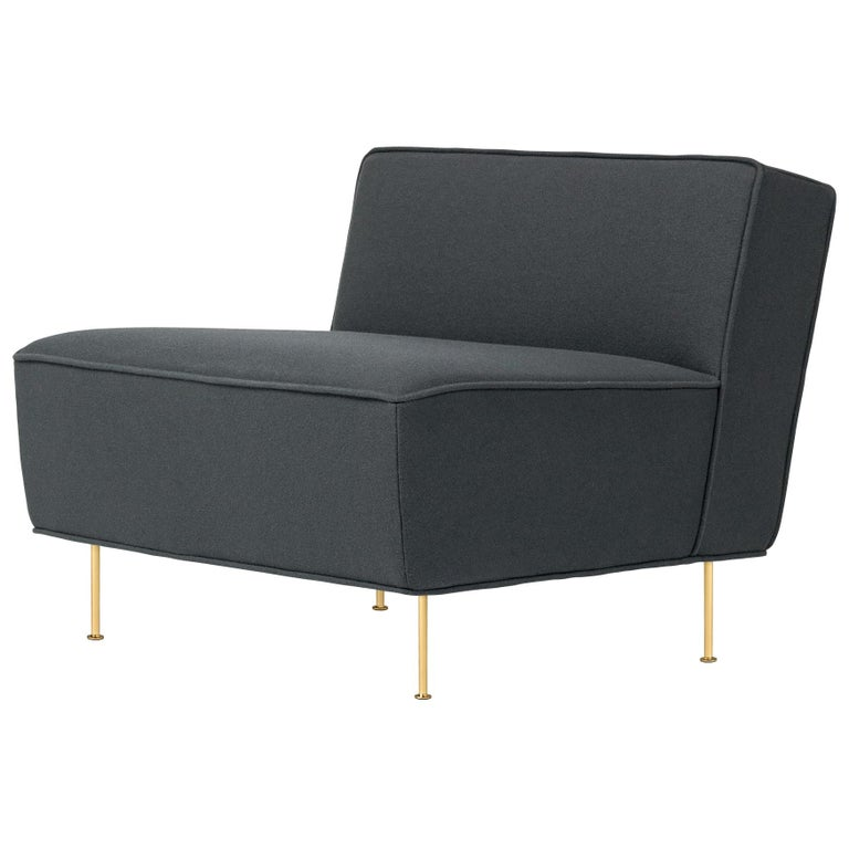 Modern Line Lounge Chair, Brass For Sale