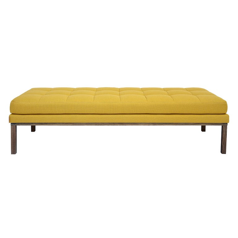 Modern Line Smoked Oak Wood Base Mustard Daybed 3
