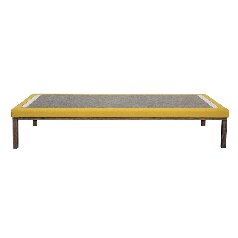 Modern Line Smoked Oak Wood Base Mustard Daybed 4