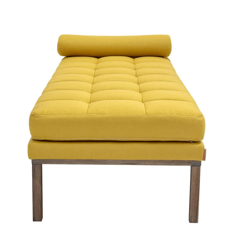 Modern Line Smoked Oak Wood Base Mustard Daybed 5