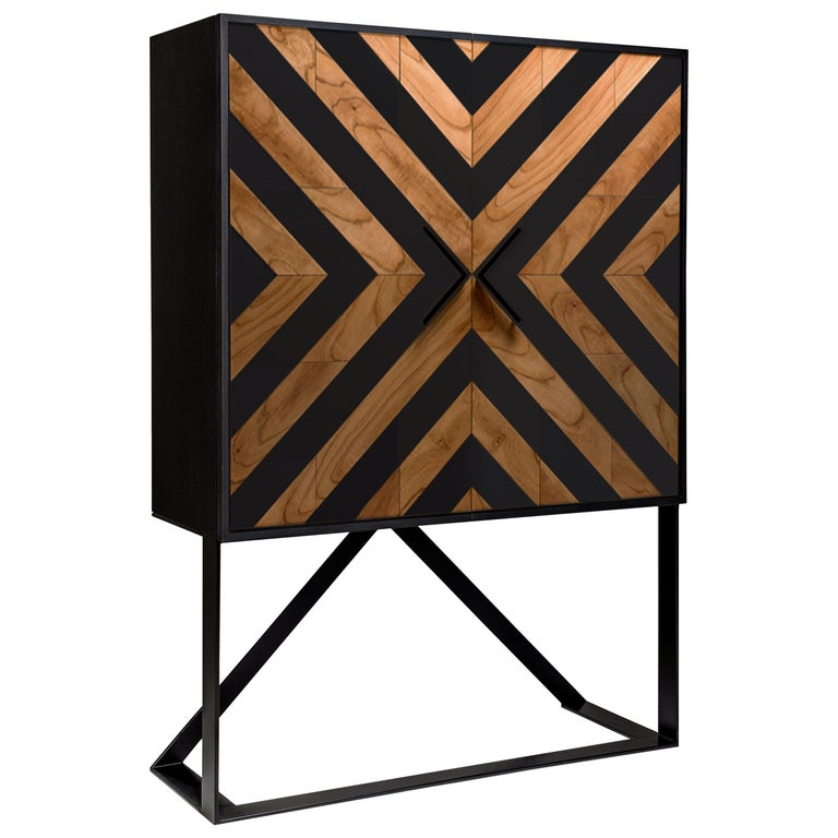 Cabinet designed by Larissa Batista Modern high sideboard in black and natural cinnamon by Larissa Batista Created by international designer Larissa Batista and handcrafted in Brazil, this contemporary piece is a home decor must-have.