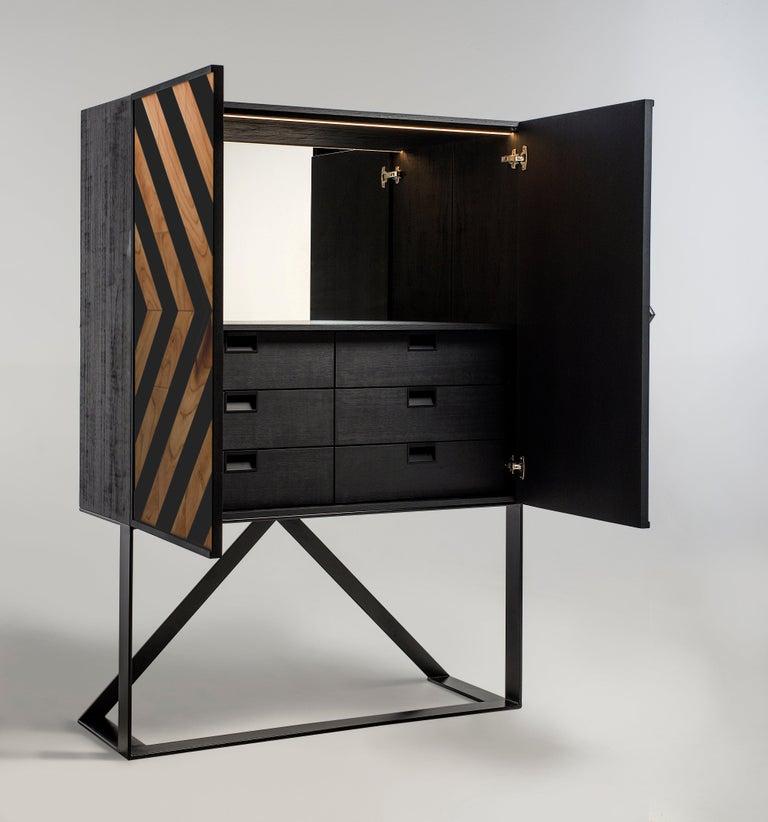 Brazilian Modern Cabinet in Black and Natural Cinnamon For Sale