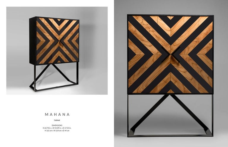 Veneer Modern Cabinet in Black and Natural Cinnamon For Sale