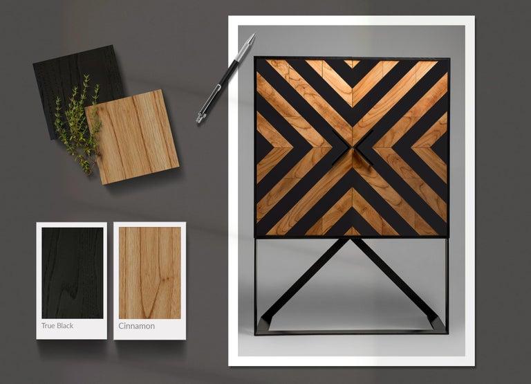 Modern Cabinet in Black and Natural Cinnamon In New Condition For Sale In Porto Alegre, Rio Grande do Sul