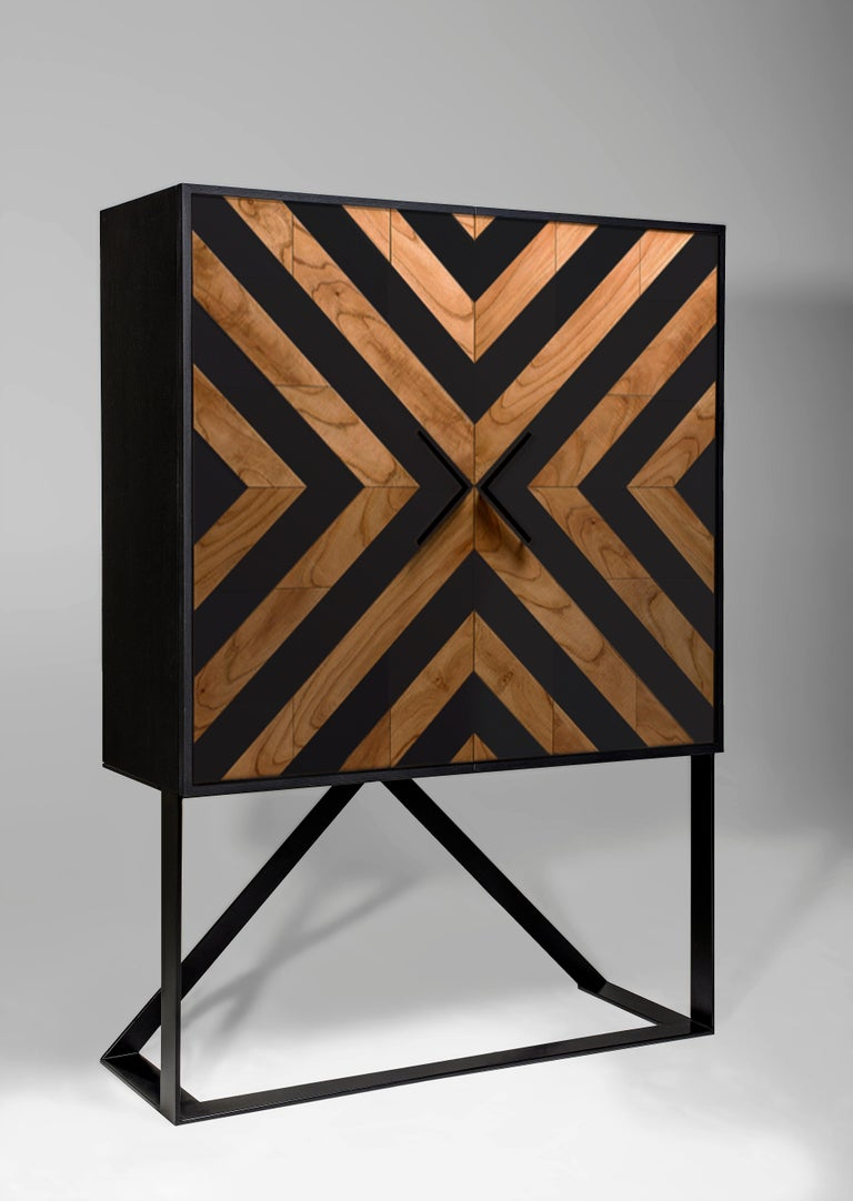 Contemporary Modern Cabinet in Black and Natural Cinnamon For Sale