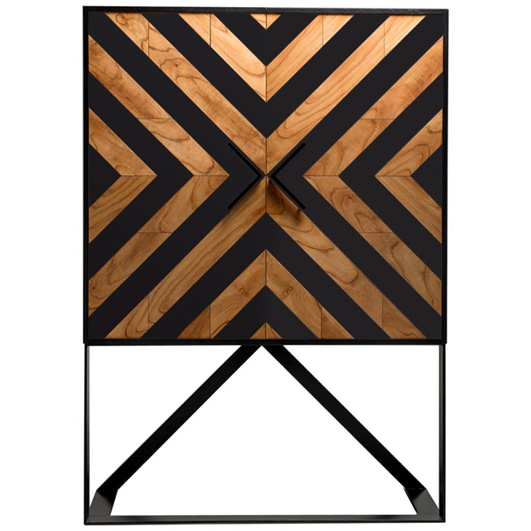 Modern Cabinet in Black and Natural Cinnamon For Sale