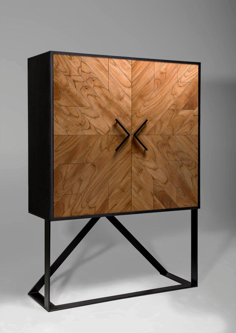 Brazilian Modern 2 Doors High Sideboard in Cinnamon For Sale
