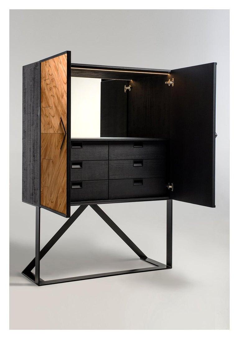 Veneer Modern 2 Doors High Sideboard in Cinnamon For Sale