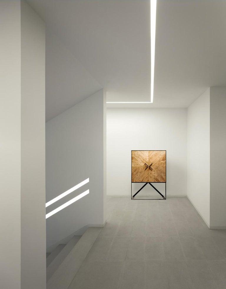Wood Modern 2 Doors High Sideboard in Cinnamon For Sale