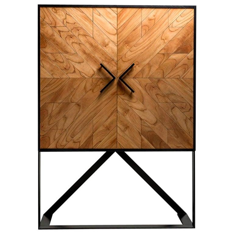 Modern 2 Doors High Sideboard in Cinnamon For Sale