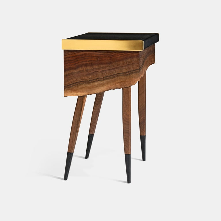 Modern Live Edge Claro Walnut Table with Drawer Leather Top and Brass Detail In New Condition For Sale In New York, NY