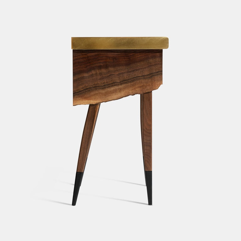 Modern Live Edge Claro Walnut Table with Drawer Leather Top and Brass Detail For Sale 1