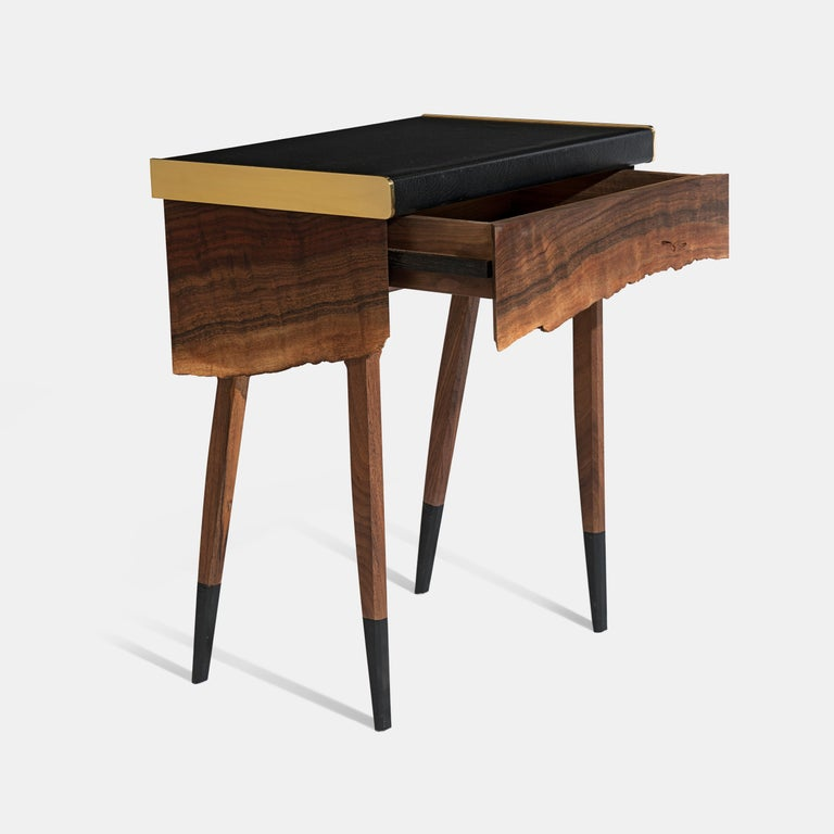 Modern Live Edge Claro Walnut Table with Drawer Leather Top and Brass Detail For Sale 2