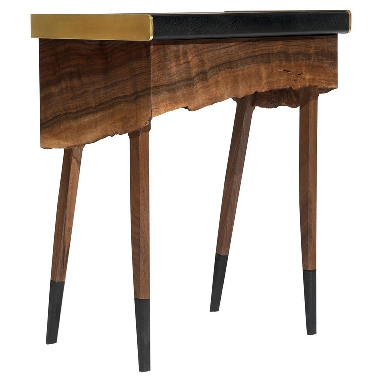 Modern Live Edge Claro Walnut Table with Drawer Leather Top and Brass Detail For Sale