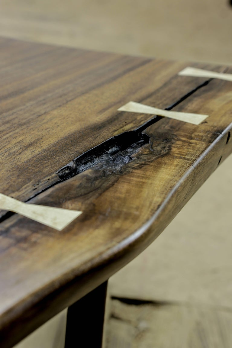 Modern Live Edge Walnut Slab Coffee Table with Butterflies In New Condition For Sale In Mendocino, CA