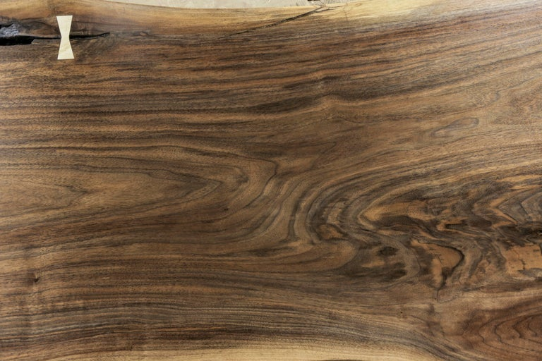 Maple Modern Live Edge Walnut Slab Coffee Table with Butterflies For Sale