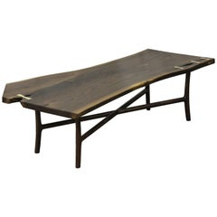 Modern Live Edge Walnut Slab Coffee Table with Butterflies