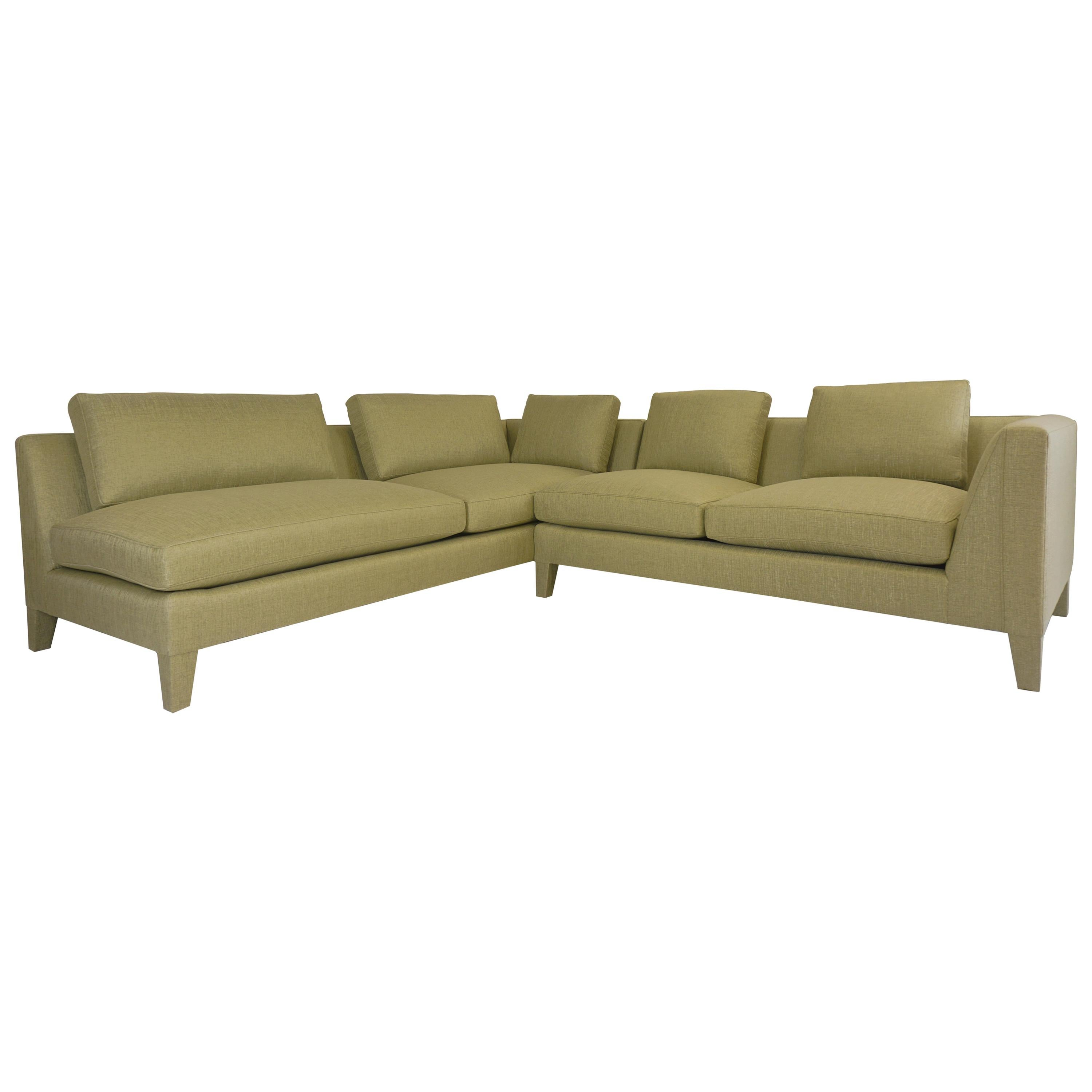 Modern Loose Cushion Sectional Sofa with Upholstered Legs