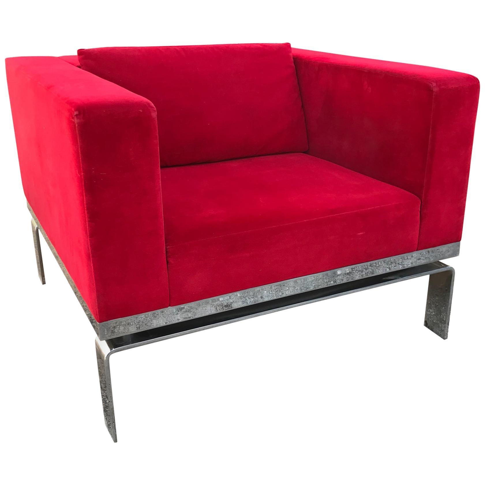 Martin Brattrud Lounge Chair Ferrari RED with Fabulous Chrome Base California