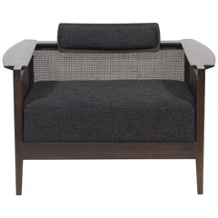 Modern Lounge Chair in Walnut with Caned Side Panels and Alpaca Upholstery