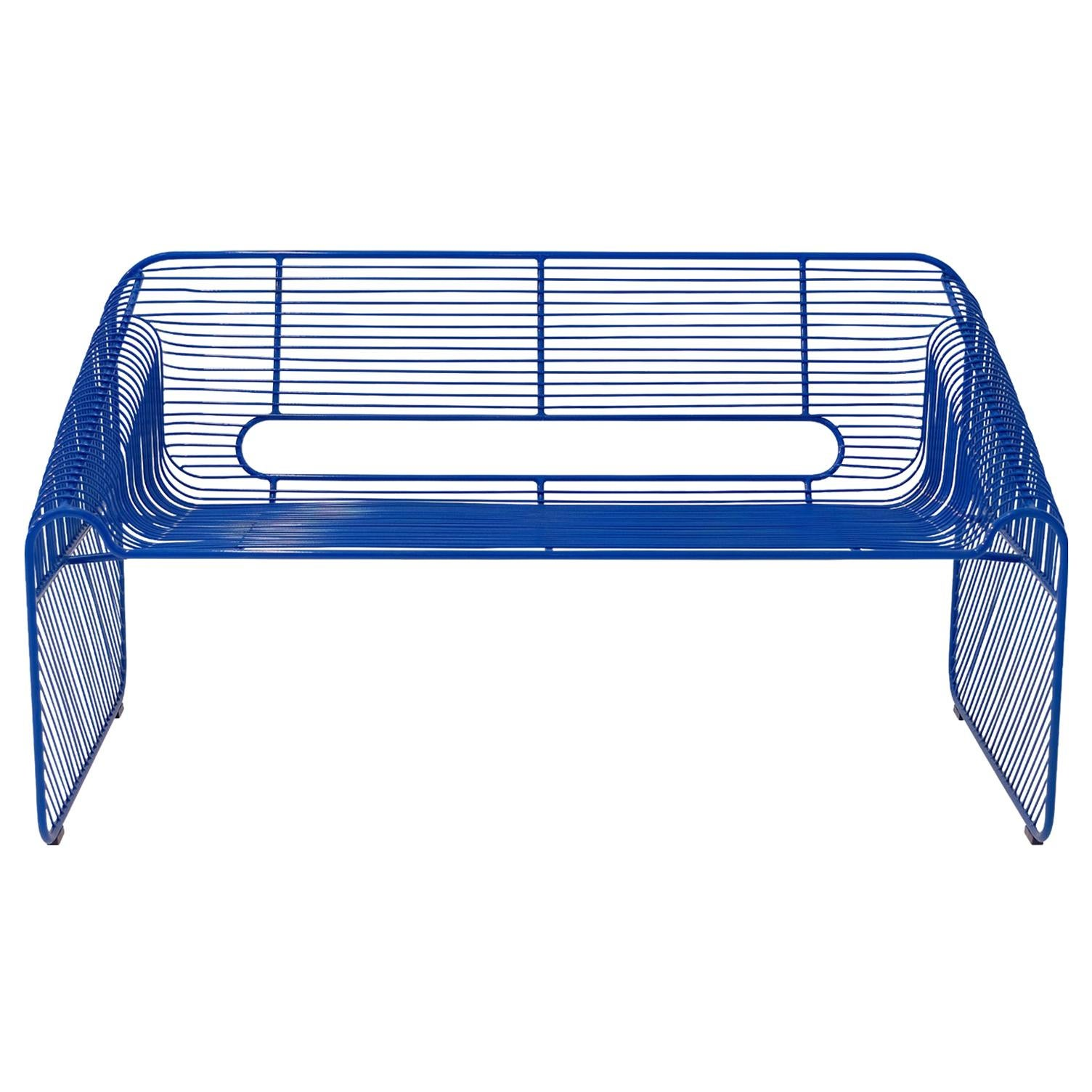 Modern Loveseat, Wire Lounge Chair in Wire by Bend Goods, Electric Blue