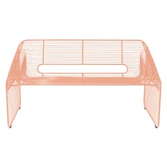 Modern Loveseat, Wire Lounge Chair in Wire by Bend Goods, Peachy Pink
