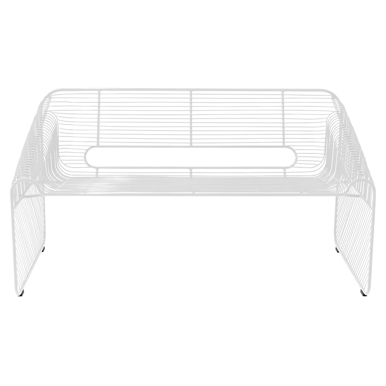 Modern Loveseat, Wire Lounge Chair in Wire by Bend Goods, White