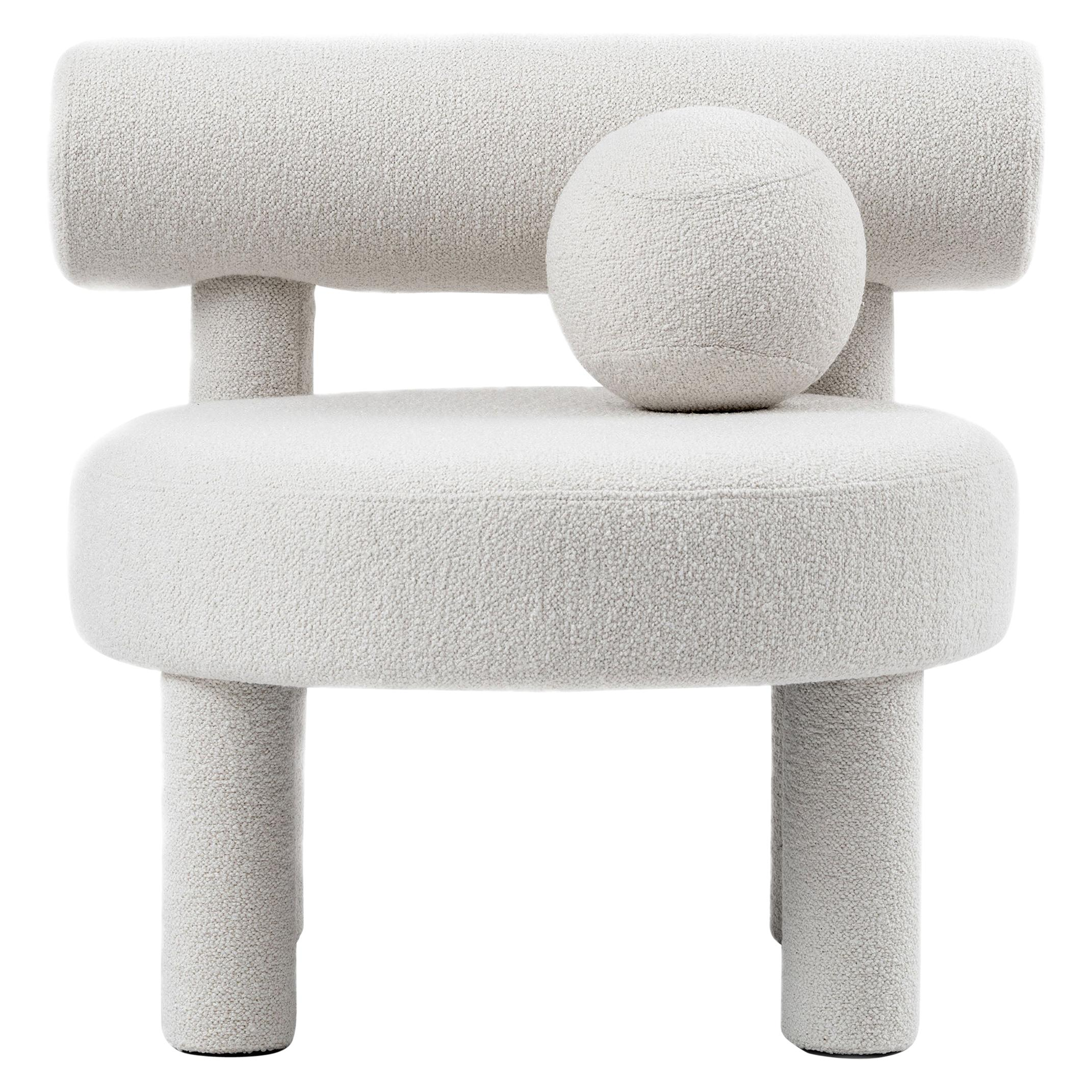 Modern Low Chair Gropius CS1 in Boucle Fabric by NOOM