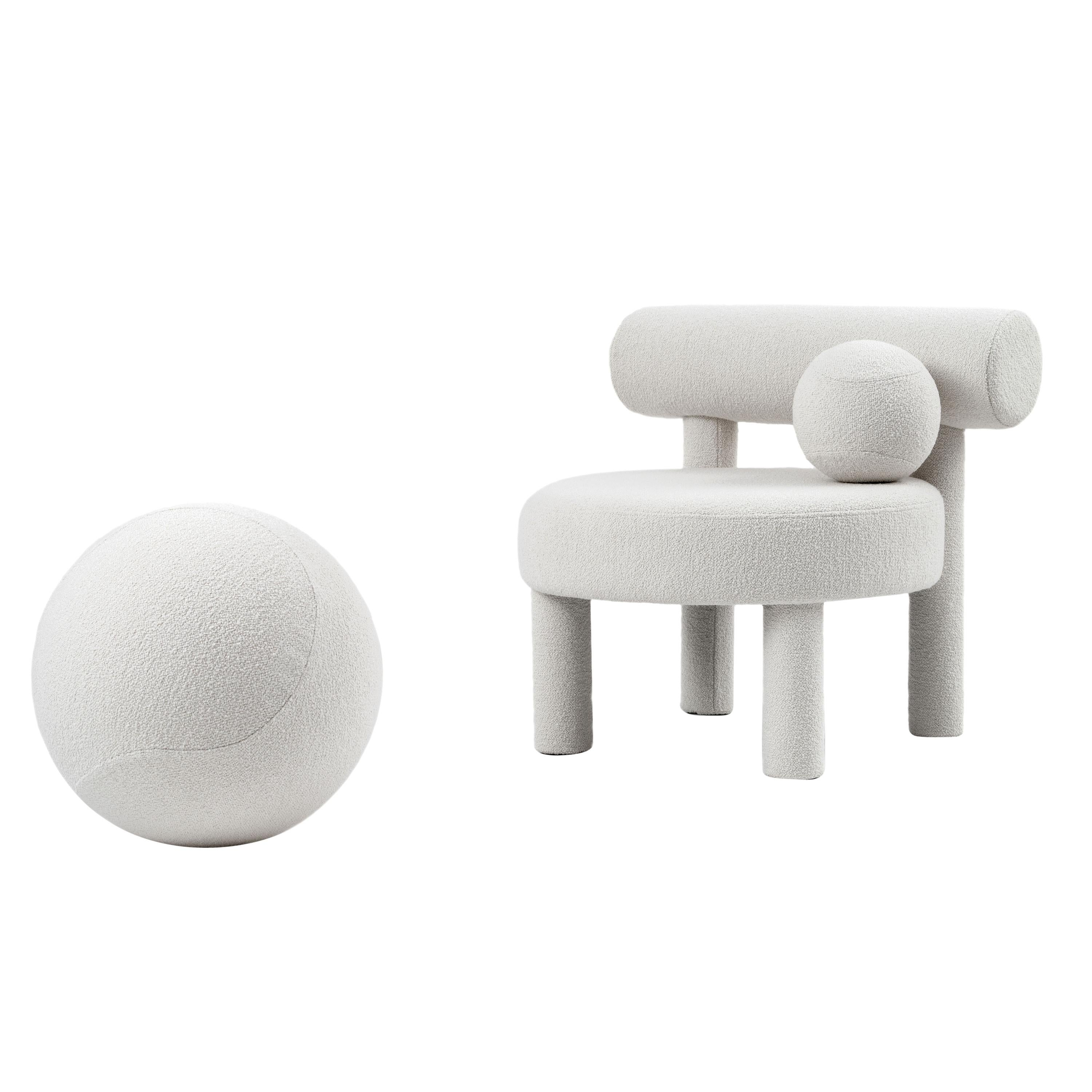 Modern Low Chair Gropius CS1 with Ottoman in Boucle Fabric by NOOM