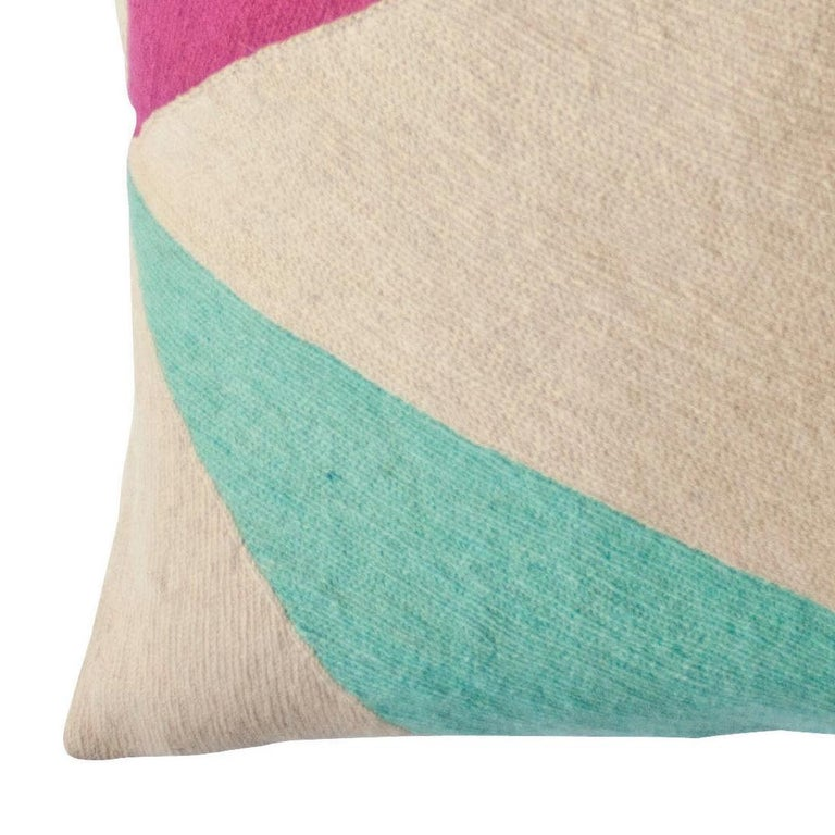 Indian Modern Lucent Shadow Hand Embroidered Geometric Throw Pillow Cover For Sale