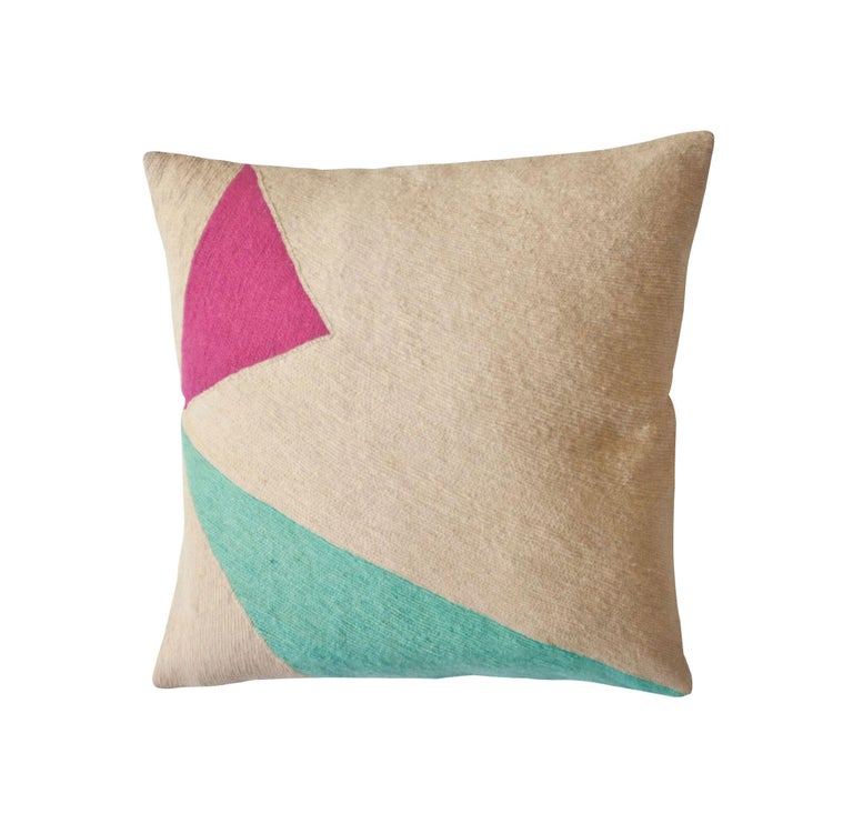 Modern Lucent Shadow Hand Embroidered Geometric Throw Pillow Cover For Sale