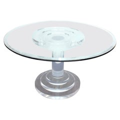 Modern Lucite and Glass Circular Dining Table