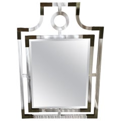 Modern Lucite and Metal Wall Mirror with Beveled Glass Mirror