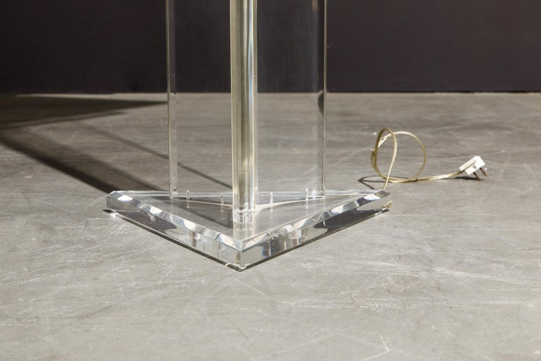 Modern Lucite Floor Lamp by Marlee, circa 1970s, Signed For Sale 6